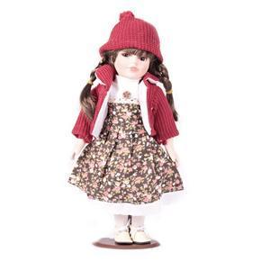 DOLL porcelánová panenka Dominika 30 cm, hnědé oči