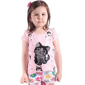 Ružové přeměňovací detské tričko Cat