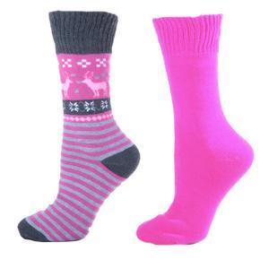 Zimní ponožky s norkým vzorem S1 růžové