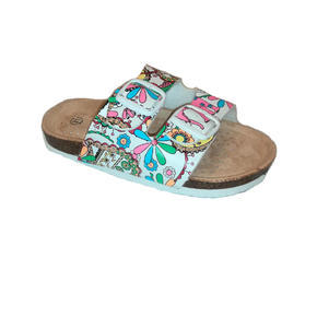 Dívčí květované pantofle Verona bílé