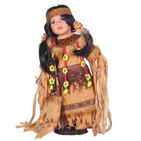 DOLL porcelánová indiánská panenka Cheyenne 40 cm