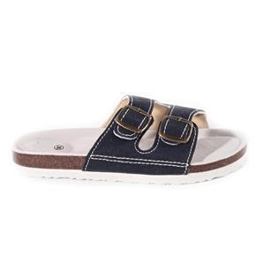 Páskové korkové papuče Simba tmavo modré