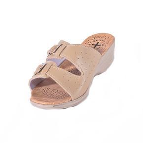 Dámske krémové páskové papuče Monic