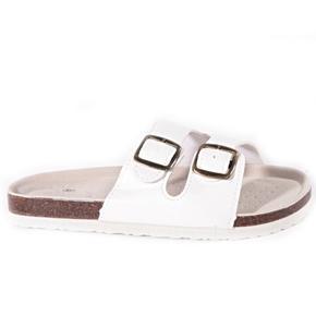 Biele páskové korkové papuče Simba