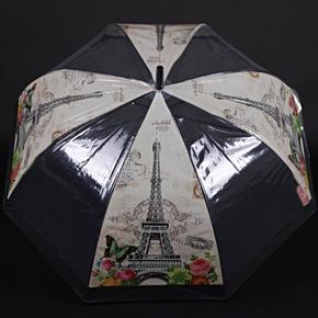 Automatický priehľadný dámsky dáždnik Zoja čierny