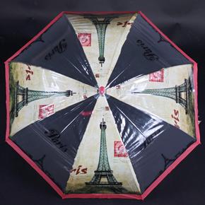 Automatický priehľadný dámsky dáždnik Dean červený