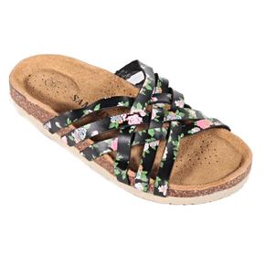 Kvetované páskové papuče Silva čierne