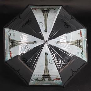 Automatický priehľadný dámsky dáždnik Dean čierny