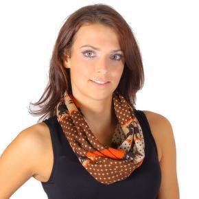 Oranžový šátek Aron s norským motivem