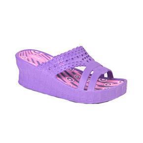 Gumové pantofle na klínku Megie fialové
