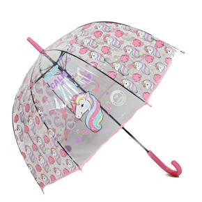 Dětský vystřelovací deštník Unicorn světle růžový