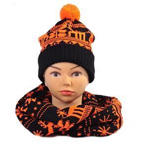 Oranžový zimné komplet čiapka a šál Veronika