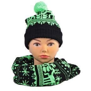 Zelený zimný komplet čiapka a šál Veronika
