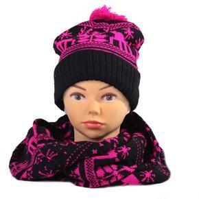Ružový zimné komplet čiapka a šál Veronika