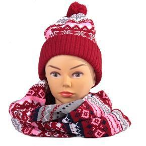 Červený zimný komplet čiapka a šál René nórsky vzor