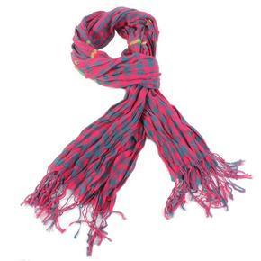 Luxusní kostkovaný šátek Lott tmavě růžový D7