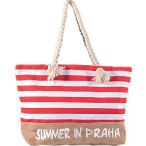 Plážová veľká kabelka Pruhy červená