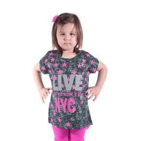 Dievčenské letné tričko s hvězdičkama Star čierne
