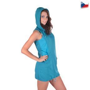 Športové dámske šaty Blue s kapucňou