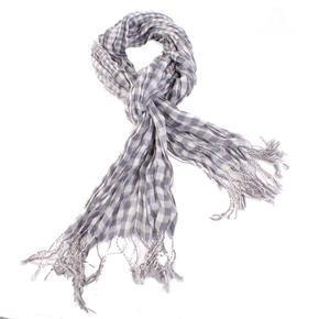 Šedý šátek Lott s třásněmi