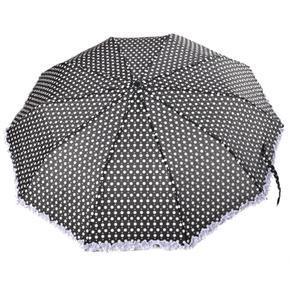 Skládací puntíkatý deštník Retro černý