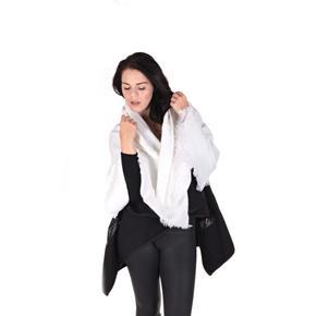 Huňatá jednofarebná dámská šála Hedvika bielá