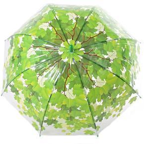 Průhledný deštník Podzim zelený