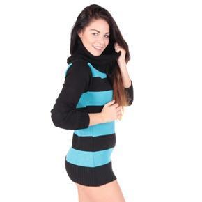 Luxusní modrý pulovr Tereza s rolákem