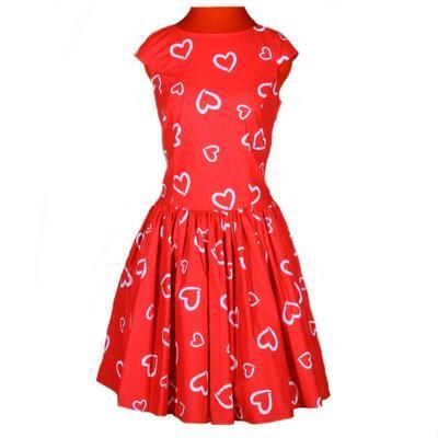Červené šaty Florenc se srdíčky - 1