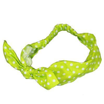 Zelená mašle do vlasů Judita s puntíky
