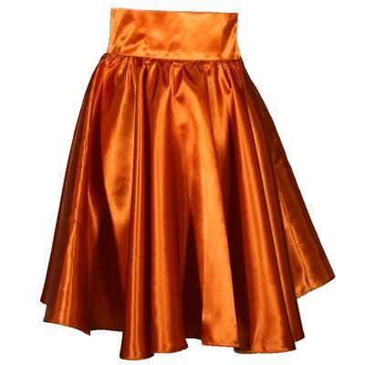 Měděná saténová sukně s pevným pasem Kimberly - 1