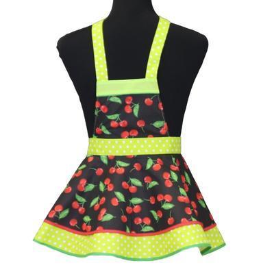 Dívčí černá zástěra Beatha s třešněmi - 1