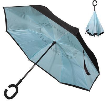 Obrácený jednobarevný deštník Lucas světle modrý - 1