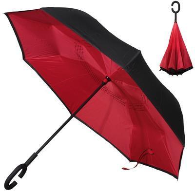 Obrácený jednobarevný deštník Lucas červený - 1