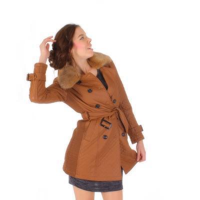 Luxusné prešívaný hnedý kabát Celest - 1
