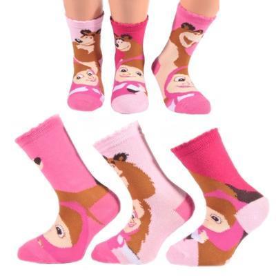 Dívčí ponožky s Mášou a medvědem P8a R  - 1