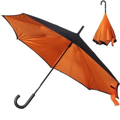 Obrácený oranžový jednobarevný deštník Velerie - 1