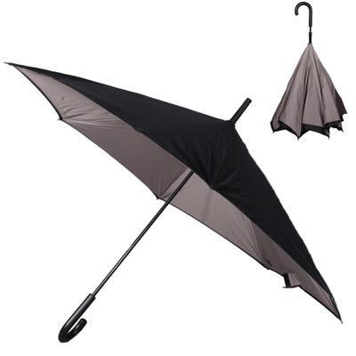 Obrácený šedý jednobarevný deštník Velerie - 1