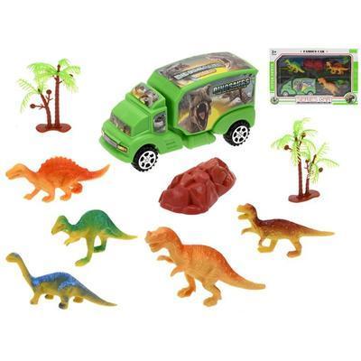 Sada auto 15cm a dinosauři 5ks Denis
