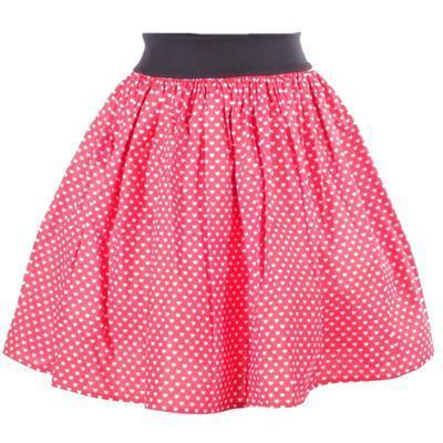 Červená kolová sukně Karolína se srdíčky - 1