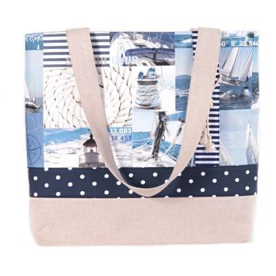 Modrá plátěná taška Chloe s mořským motivem - 1