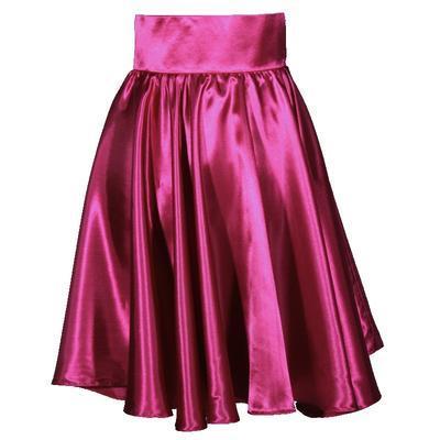 Tmavě růžová saténová sukně s pevným pasem Kimberly - 1