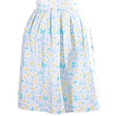 Modrá zavinovací sukně Jenny s motýly - 1