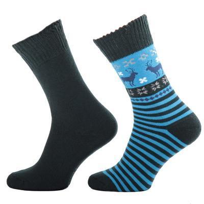 Zimní ponožky s norkým vzorem S1 modré
