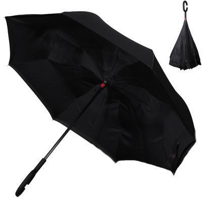 Obrácený jednobarevný deštník Lucas černý - 1