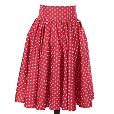 Červená sukně s pevným pasem Red s puntíky - 1