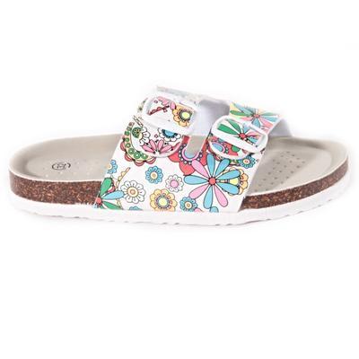 Dievčenské kvetované papuče Flover bielé - 1