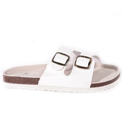 Biele páskové korkové papuče Simba - 1