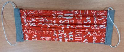 Bavlněná rouška pro dospělé na gumičky červená písmenka - 1