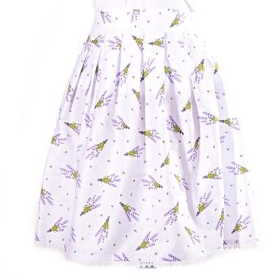 Bílá zavinovací sukně Dana s levandulemi - 1